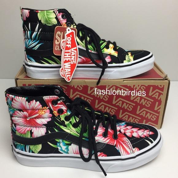 f1bc44b037 Vans SK8-Hi Slim Hawaiian Floral Black High Tops